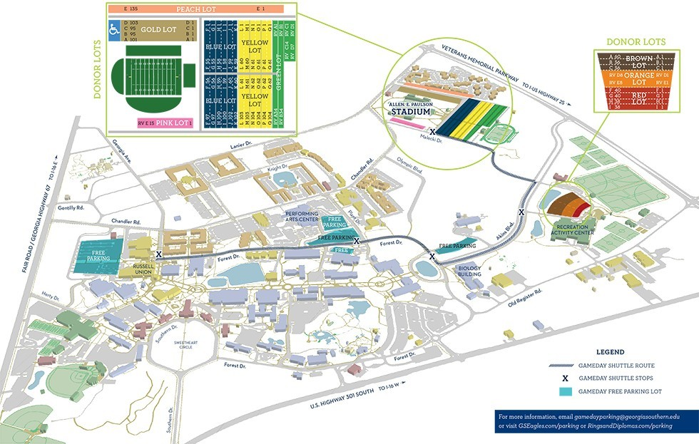 Reminder About Parking Rules for Thursday Games - Georgia ... on n.c. state map, gsu campus map, eastern kentucky map, northern colorado map, prairie view a&m map, southeast louisiana map, south carolina map, central methodist map, northern illinois map, augusta state map, dallas baptist map, northern iowa map, perry ga map, northern arizona map, george mason map, savannah state map, southeast us road map, downtown savannah ga map, alcorn state map, kennesaw state university campus map,